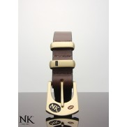 Ned Kelly Brown leather belt with  bronze buckle and keepers