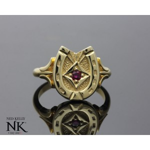 Ned Kelly Gold Horse Shoe signet ring